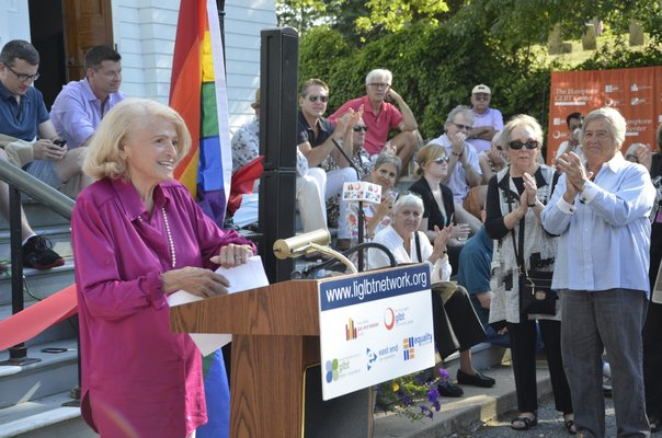 Edie Windsor at the opening of the LGBT community center in Sag Harbor in August of 2013.  PRESS FILE