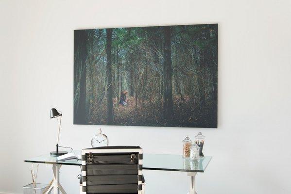 "In the master suite, Dalton Portella's ""Jane's Forest."" COURTESY PAUL DOMZAL/edgemediaprod.com"