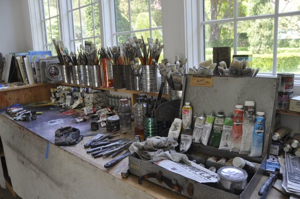 Inside modernist painter Gerson Leiber's studio in Springs. MICHELLE TRAURING