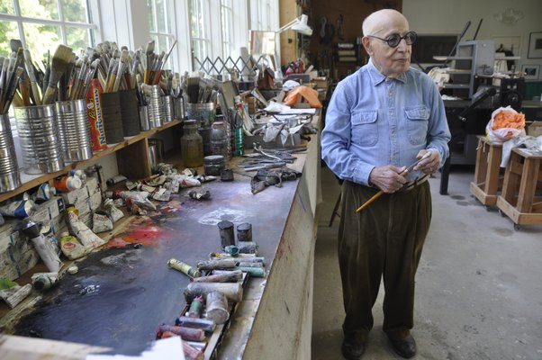 Modernist painter Gerson Leiber in his Springs studio. MICHELLE TRAURING