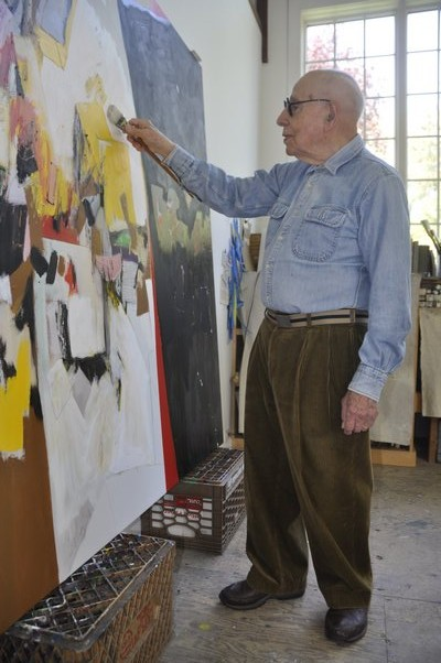 Modernist painter Gerson Leiber at work in his Springs studio. MICHELLE TRAURING
