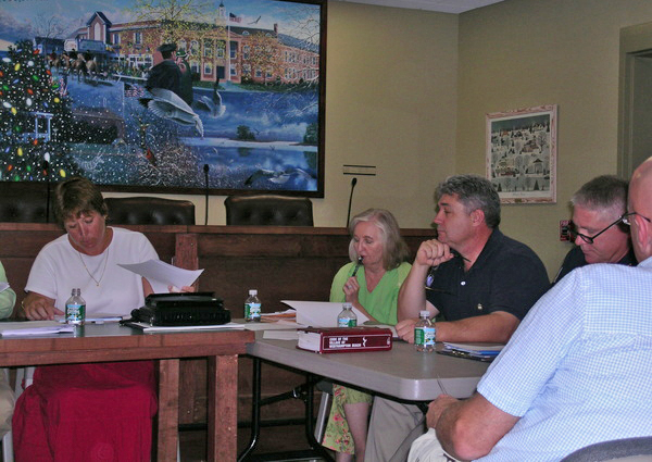 Village officials and board members at the August 26 work session.