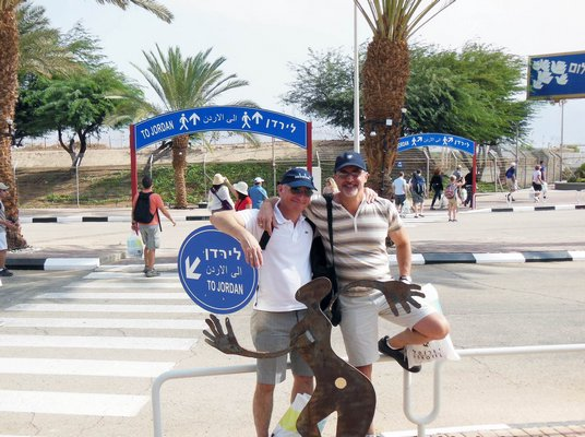Mr. Cohen and his partner crossing the border from Israel to Jordan on their way to visit Petra. COURTESY ROY COHEN COURTESY OF ROY COHEN