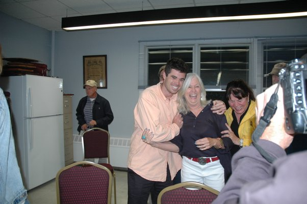 Kathleen Mulcahy and her son, Colman Vila, after the election results came in on Tuesday night.   ELIZABETH VESPE