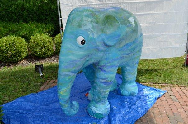 "Elephant sculpture painted by Barbara Bilotta, ""Unforgettable,"" for Elephant Parade Hamptons. ANISAH ABDULLAH"