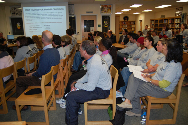 The Teachers Association of Sag Harbor stormed a district board meeting and demanded the board move forward in negotiations.<br></noscript>Photo by Jessica DiNapoli