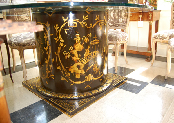 A table painted in Chinoiserie by James Alan Smith in a room of furniture that will be for sale at the Decorators-Designers-Dealers show, to be held on Saturday, June 5.  JESSICA DINAPOLI