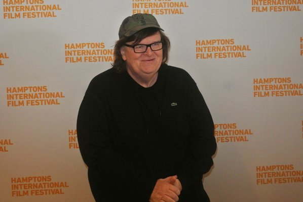 """October 15 -- Michael Moore participated in """"A Conversation With ..."""" at Bay Street Theater in Sag Harbor, as part of the Hamptons International Film Festival."""