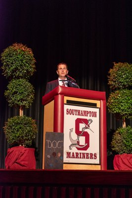 The Southampton School District added two more names to its Wall of Distinction on Friday evening: The Reverend Marvin Dozier and Lawrence Lechmanski. The wall recognizes individuals who have supported and improved the education of the district's students. Southampton School District Atheletic Director Darren Phillips sets the stage fo
