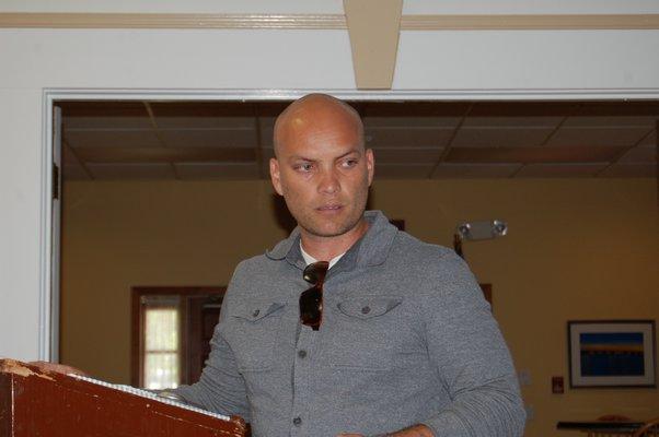 David Lys speaks at the hamlet study presentation in Amagansett on Saturday. JON WINKLER