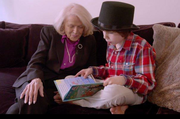 Edie Windsor with Roberta Kaplan's son, Jacob.
