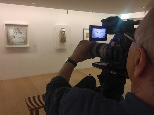 Filming in the Musee Picasso, Paris