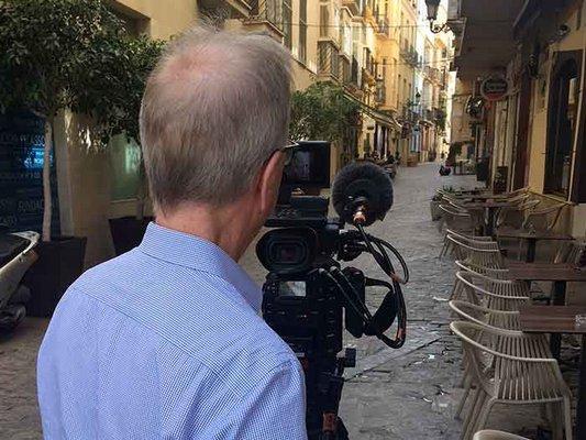 Filming in Malaga, Spain.