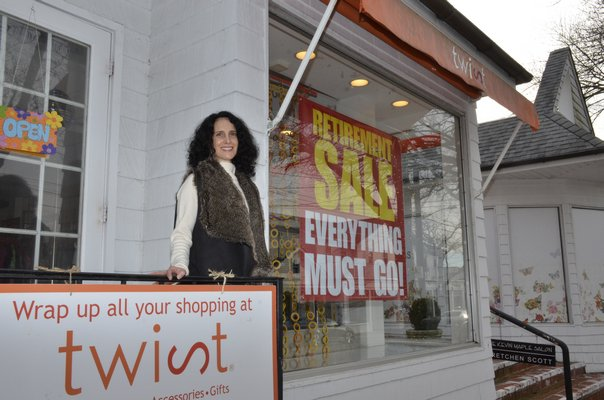 Valerie Revere, the owner of Twist in Southampton Village, is closing down the shop after 17 years. GREG WEHNER