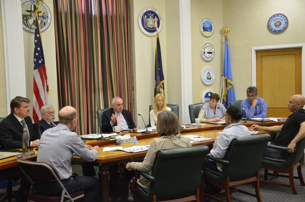 Southampton Town Board members met with Sole Tax Assessor Lisa Goree during a work session on April 11. GREG WEHNER