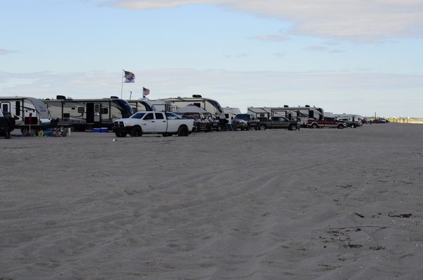 Camping along the beach at Shinnecock East County Park could be placed on hold if piping plovers, which are threatened and have been seen within 1,000 meters of the area, have chicks. GREG WEHNER