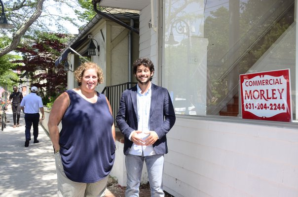 Southampton Village Mayor Jesse Warren and Southampton Art Center Director Amy Kirwin are working on a program to turn vacant storefronts into an art exhibit. GREG WEHNER