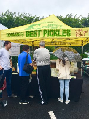 In East Hampton, patrons line up at Horman's Best Pickles, even in the rain.  HANNAH SELINGER