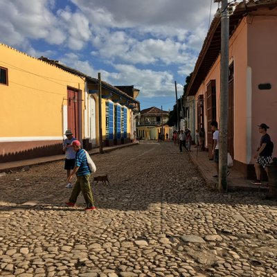 Restored street in colonial Trinidad. Vibrant, pastel colored buildings with red-tiled roofs line the cobblestone streets. Dogs run loose all over Cuba. ANNE SURCHIN
