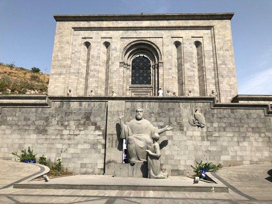 The Matenadaran with statue of Mesrop Mashtots. ANNE SURCHIN