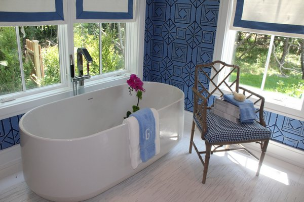 The junior master bathroom, curated by IBB Design for CR Laine. JULIA HALSEY