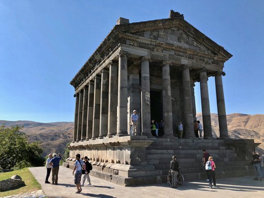 The Temple of Garni. Note the size of the stair treads, which actually diminish the scale of the structure. ANNE SURCHIN