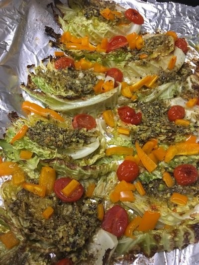Pistachio Pesto Roasted Cabbage (After Roasting). BY JANEEN SARLIN