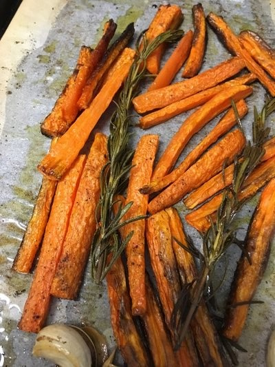 Orange and rosemary roasted carrots BY JANEEN SARLIN