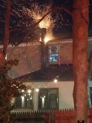 A fire in the chimney broke out at World Pie in Bridgehampton Saturday night.   COURTESY CHRISTINE HOYT