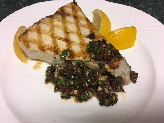 Grilled swordfish with nicoise sauce JANEEN SARLIN