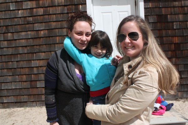 Crystal Mannoia, with daughter Danica, and teacher Happie Daniels at Head Start in Bridgehampton. BY ROHMA ABBAS