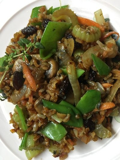 Asian-style vegetable stir fried brown rice. JANEEN SARLIN