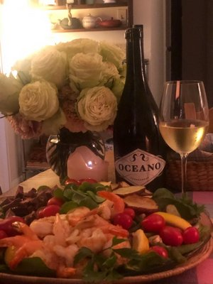 Surf and turf spinach salad with Oceana chardonnay.