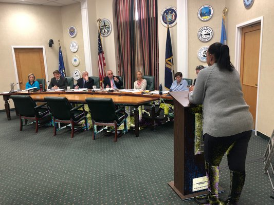Southampton Town Sole Assessor Lisa Goree addressed the Town Board in regard to the tax assessment freeze. VALERIE GORDON
