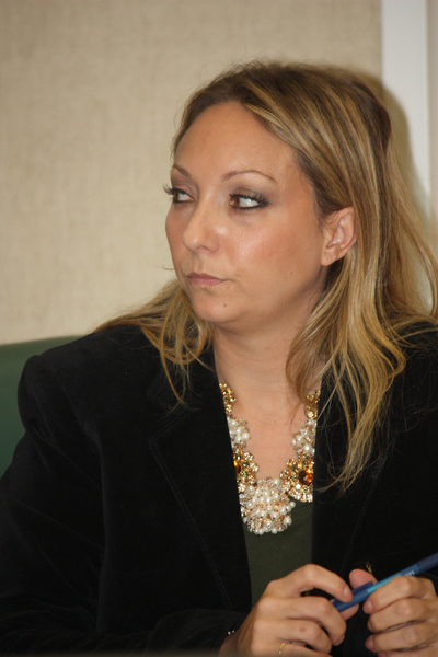 Southampton Town Attorney Tiffany Scarlato at a special Town Board meeting on Friday.