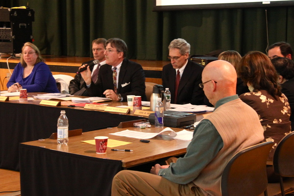 Springs School Board President Christopher Kelley at Monday's budget meeting.