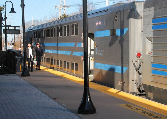 A handful of riders disembarked from a Long Island Rail Road train in East Hampton just before 9 a.m. on Tuesday.   KYRIL BROMLEY