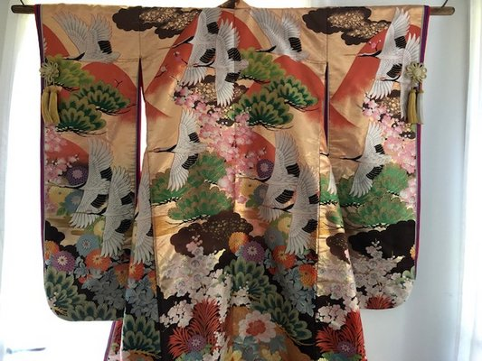 An antique kimono in the collection of J.Z. Holden.