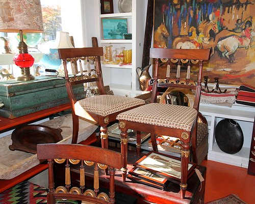 Antique French chairs with gold leaf detail and in excellent condition are offered on consignment from a decorator. They're selling at $1,200 for six chairs. KYRIL BROMLEY