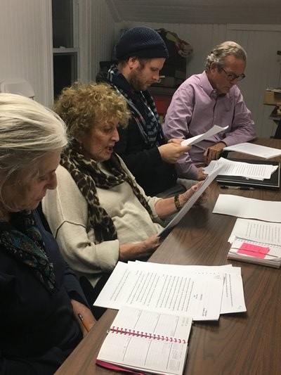 Carol Goodale, Erika Hecht, reading, Felix Hagen and Richard Lawless.  ANNETTE HINKLE