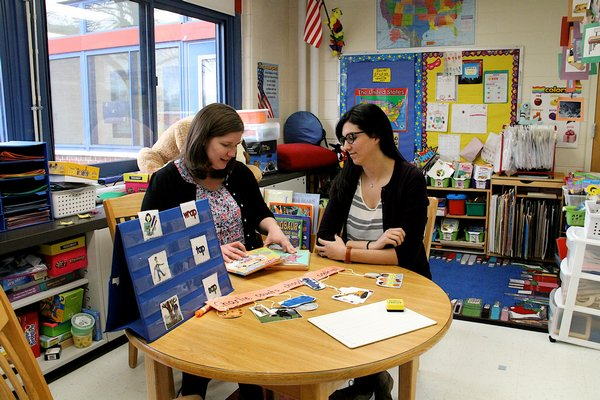 Amanda McKelvey, left, is the Special Class Primary 1 teacher at John Marshall Elementary School in East Hampton, and works with fellow teacher, Alixandra MacMahon, to educate children on the autism spectrum. KYRIL BROMLEY