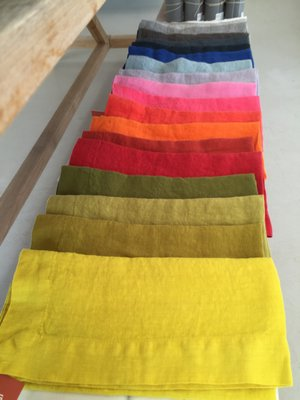 Disposable cloth napkins in a rainbow of colors. STEVEN STOLMAN