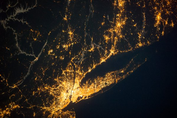 As this image from NASA shows, the reach of New York City to the East End has grown intense.