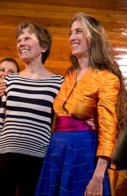 Libero Canto singer Deborah Carmichael, left, and her sister Isabel Carmichael, a board member of the Amagansett Life-Saving Station, June 2018. OLGA GOWOREK