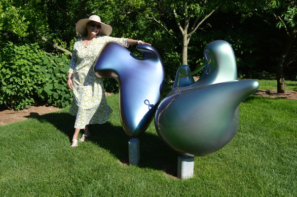 """Joan and the Peptides."" sounds like a groovy band doesn't it?  Ms. Hornig is proud of her Polypeptide-themed sculpture by Mara G. Haseltine, whose work often involves nature and science. She just had a piece installed at the Univeristy of Pennsylvania breast cancer center. CHRIS ARNOLD"