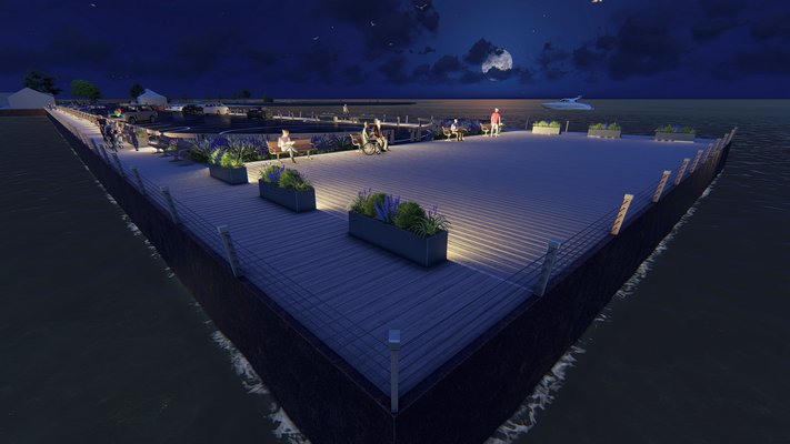 A rendering of the renovated Long Wharf at night. The perimeter fencing will be similar to that depicted but with more cables so children won't be able to climb through it. COURTESY EDMUND HOLLANDER DESIGN
