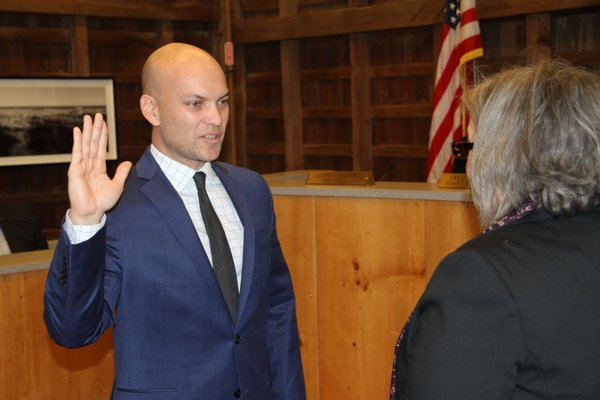 Councilman David Lys was sworn in on Thursday to a one-year term on the Town Board.   MICHAEL WRIGHT