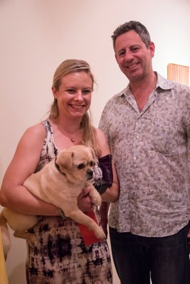 Allison Wade with her puppy, Coconut and Jeff Bandman attend the Bob Dylan 'The Drawn Blank Series' opening. MAGGY KILROY