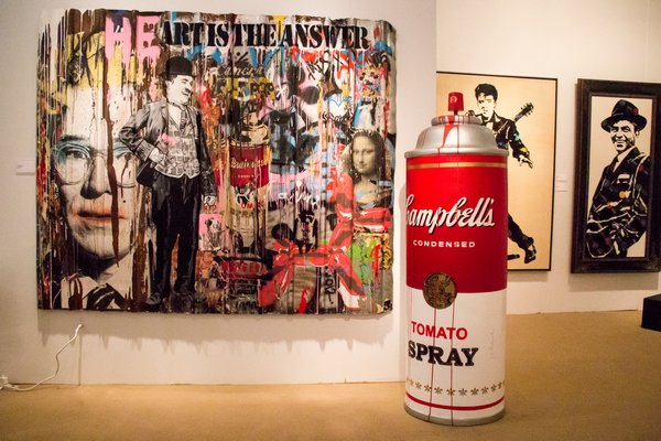 "Mr. Brainwash's ""Heart is the Answer"" mixed media piece. MAGGY KILROY"