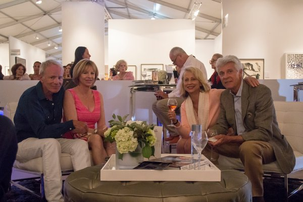 Joe Lyons, Dede Lyons, Jeannette Hektoen and Neill Slaughter at Art Southampton VIP room. MAGGY KILROY